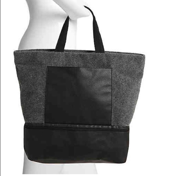 DSW Handbags - DSW Gray Felt with Black Trim Large Tote + Samples